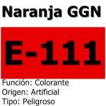 Naranja GGN o E 111: Colorante prohibido en varios países por sus efectos dañinos.