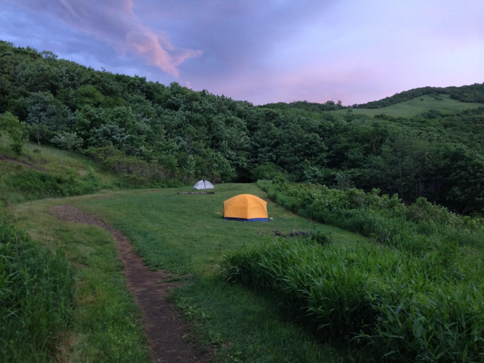 Camping along the Appalachian Trail.
