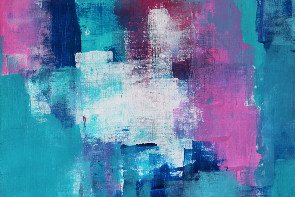 Pink And Green Abstract Paintings