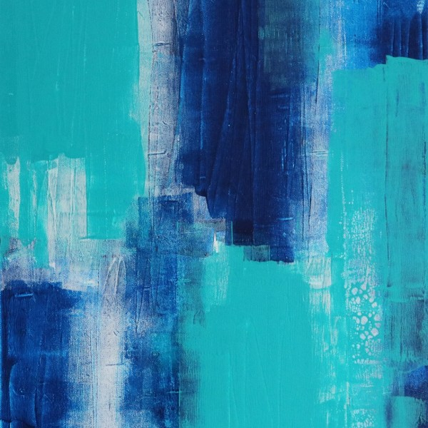Abstract Acrylic Canvas Art - Walking On More Phthalo Blue - Two-Piece Set - Piece 1 by Australian abstract artist Charlie Albright | Moments by Charlie | Creative Visual Artist, Photographer and Blogger | Made in Adelaide, Australia