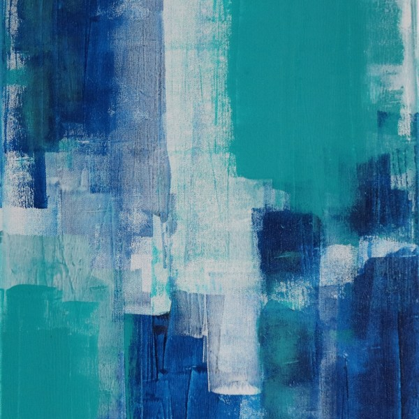 Abstract Acrylic Canvas Art - Walking On Phthalo Blue - Two-Piece Set - Piece 2 by Australian abstract artist Charlie Albright | Moments by Charlie | Creative Visual Artist, Photographer and Blogger | Made in Adelaide, Australia