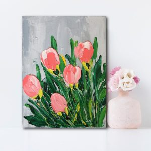 "Semi-Abstract Flowers (Tulips) Canvas Art Titled Rebirth By Adelaide Abstract Artist Charlie Albright | Canvas Size 9"" x 12"" 