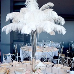 Events By Designer Chair Covers Blue Swivel Uk Silver Vase With White Ostrich Feathers And Artificial Peony's | Moments Of Elegance