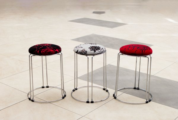 Fancy short Stools (Cotton and Leather) 1
