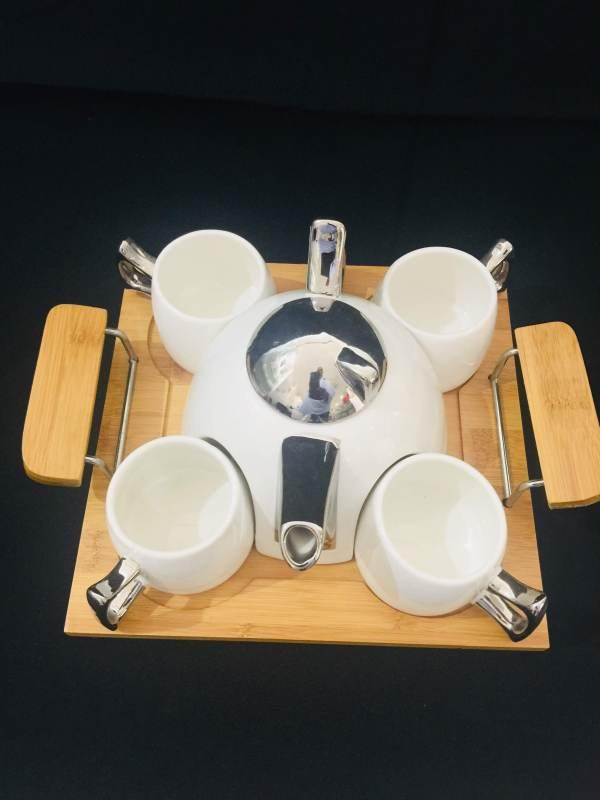 White and Silver Contemporary Tea Pot Set 2