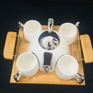 White and Silver Contemporary Tea Pot Set 3