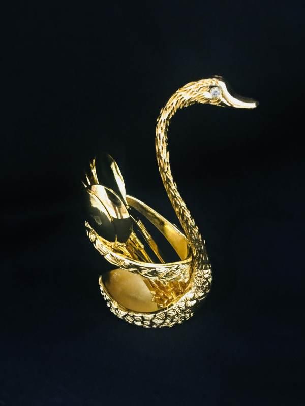 Swan Mini Dessert Spoon Holder Gold 1