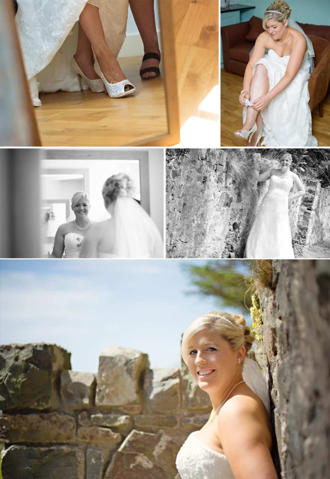 North Wales wedding - bride putting on shoes
