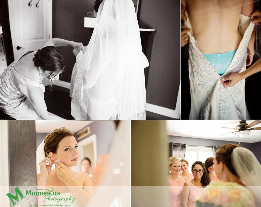 Outdoor Cornwall Wedding - bride in blue underwear