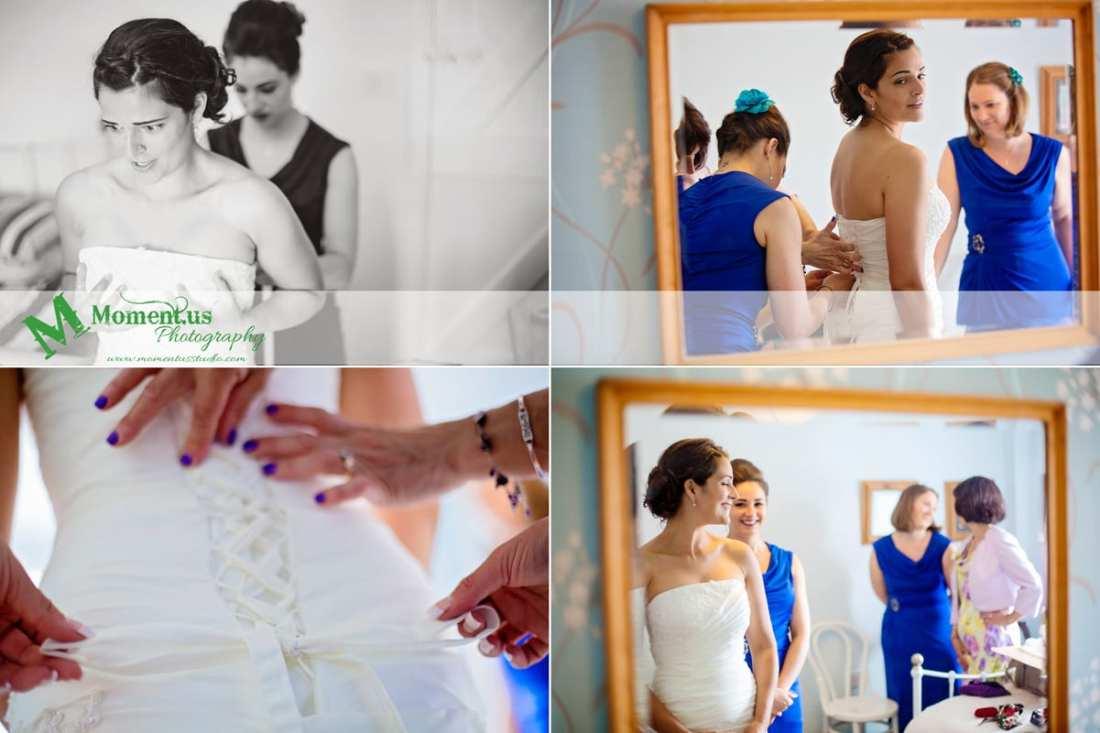 Fort Belan Wedding - bride getting dressed