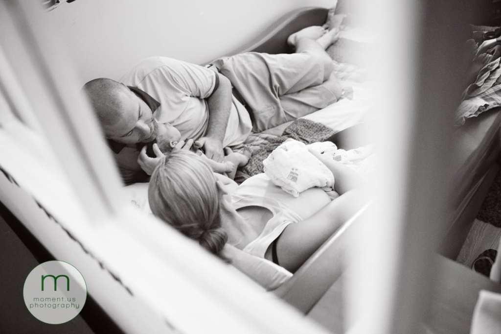 Cornwall documentary family photographer - mirror cuddles