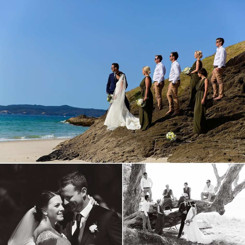 International wedding photographer in Cornwall - wedding party on rocks by ocean