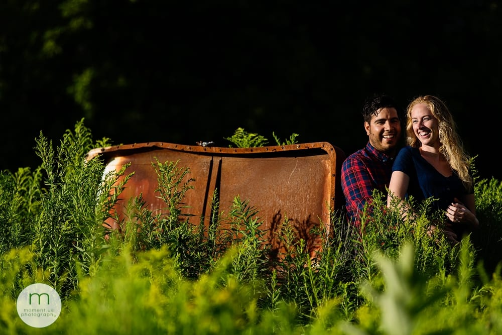 rusty freezer in Cornwall engagement session