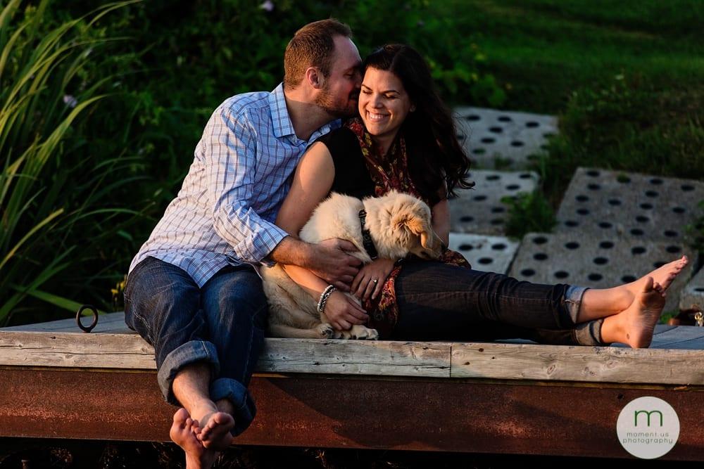 Cornwall couple with dog on dock
