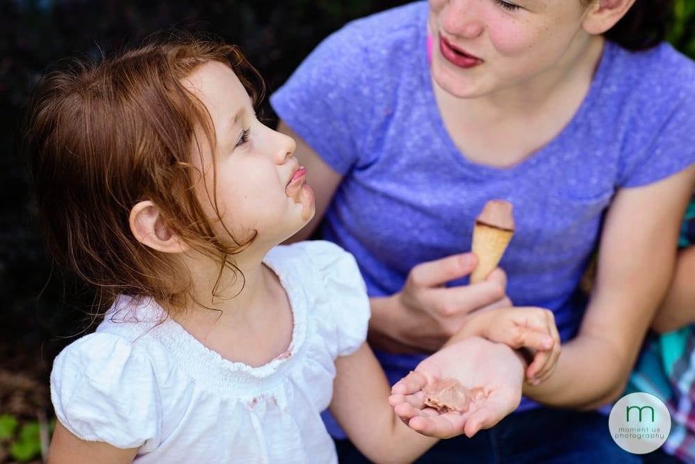Cornwall sisters eating ice cream