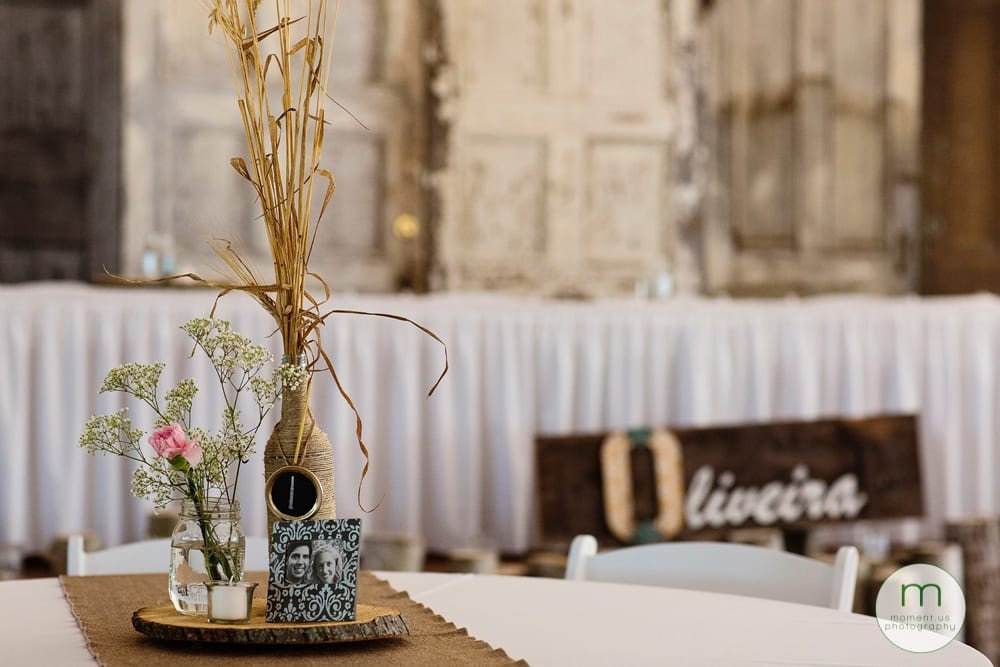 Maxville Fairground wedding reception hall decor table centrepiece