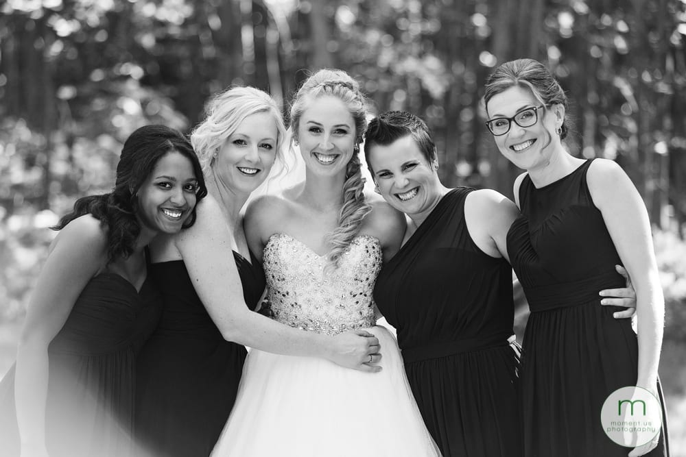 bride with girls