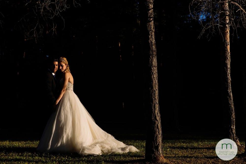 bride and groom in shadows