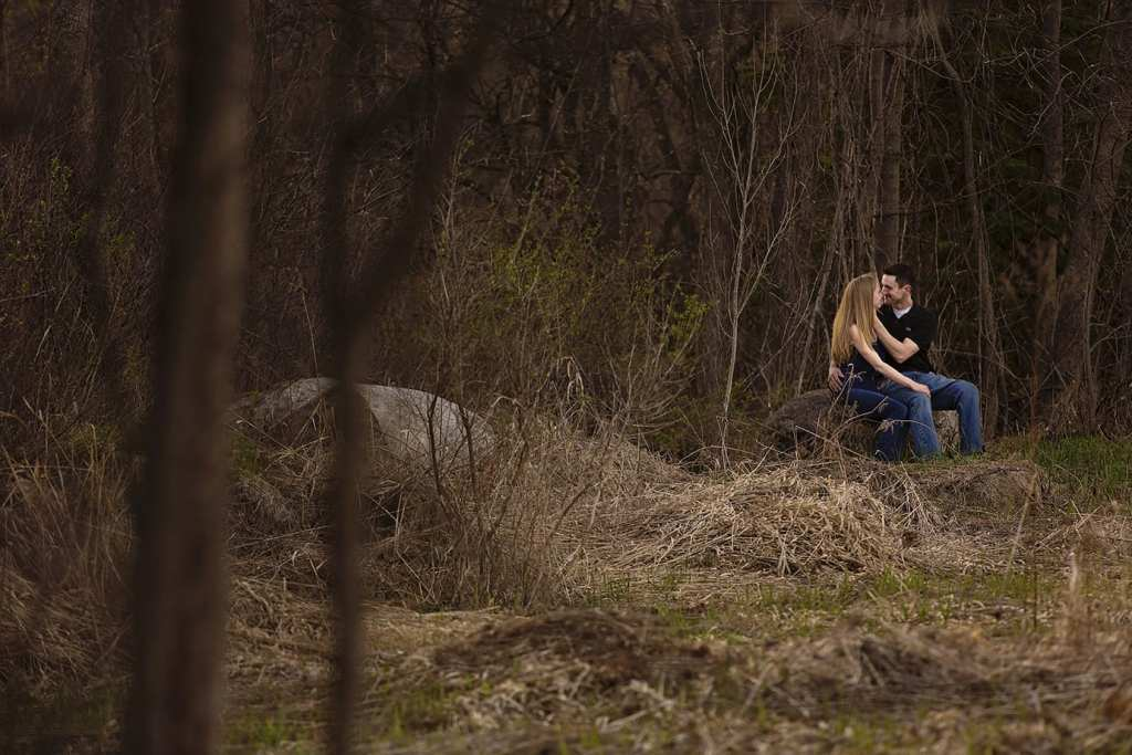 intimate moment from a distance during Cornwall engagement session