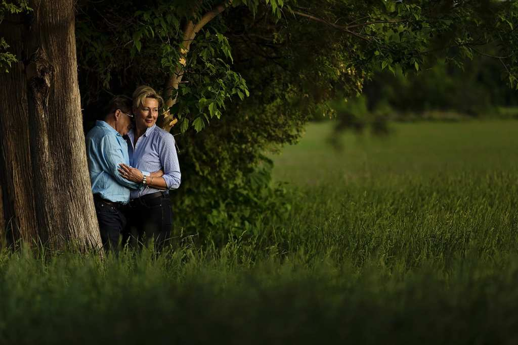 Woman looks into the sun during Williamstown engagement session