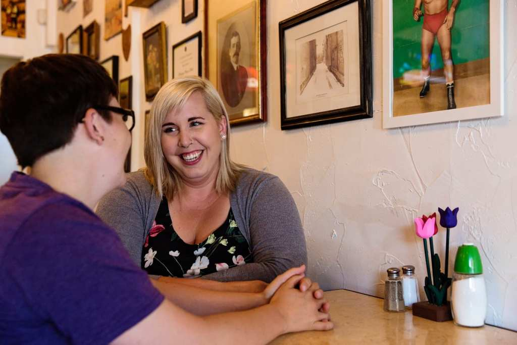 LGBT Peterborough Engagement in a diner