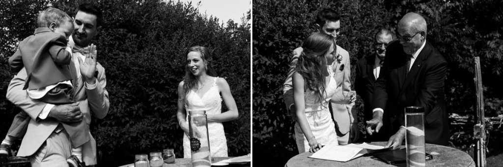 Bride and groom signing wedding registry
