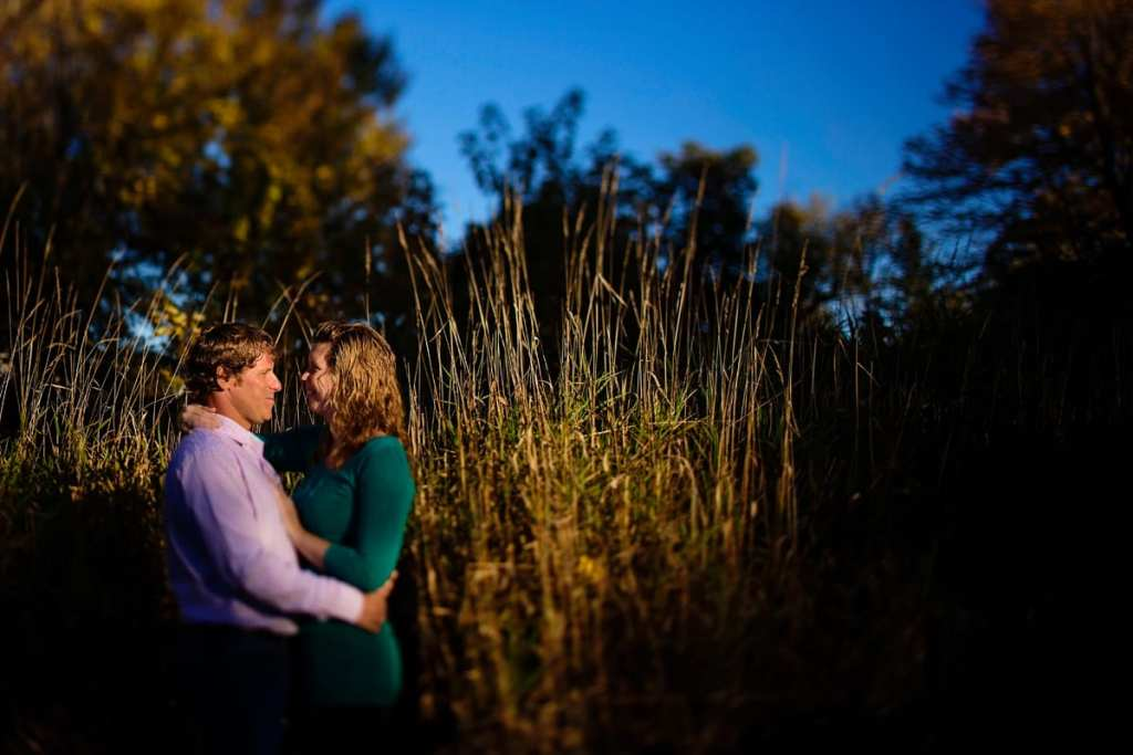 engaged couple in tall grass at sunset in Martintown