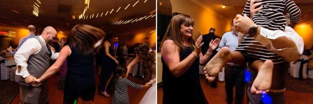 guests dancing on dancefloor during Cornwall evening wedding