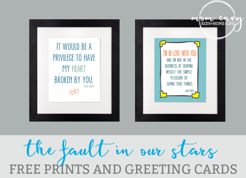 the fault in our stars 14 free prints cards