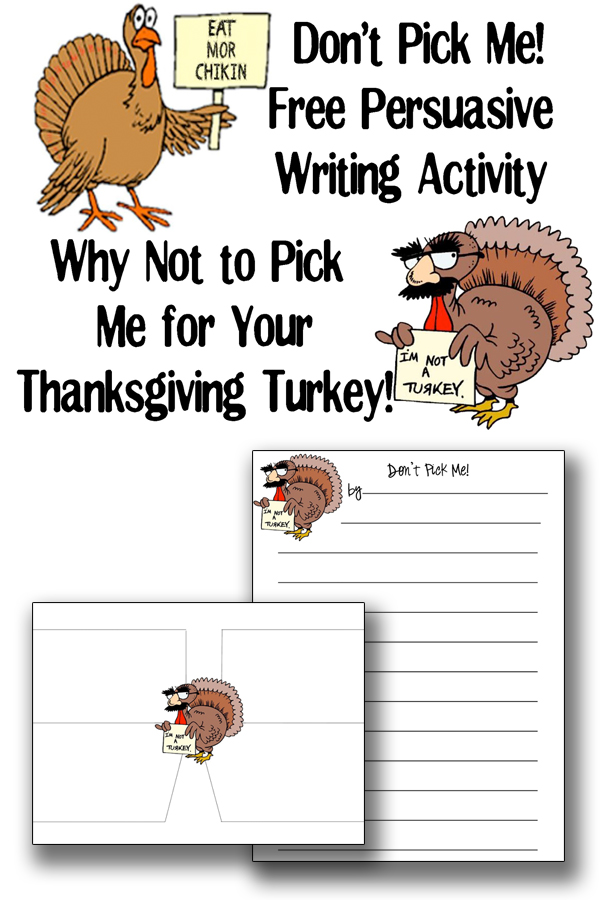 Free Thanksgiving persuasive writing activity. Don't Pick Me for your Thanksgiving Turkey! Free Thanksgiving worksheets for writing. Perfect for fall sub plans. #freeworksheets #freefallworksheets #freesubplans #worksheet