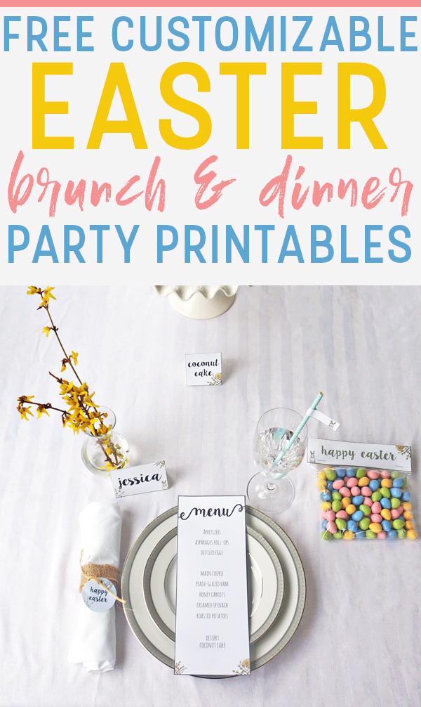 Free Easter Party Printables for brunch or dinner. Download this FREE and customizable set of free Easter Printables. It includes a Free Easter Banner, place cards, menu, favor printable, and more. #easter #easterprintables #eastertablescape