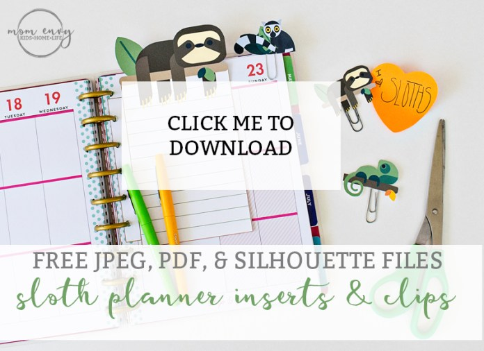 Sloth Planner Insert and Clips Cover download