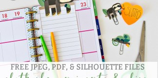 Sloth Planner Insert and Clips Cover