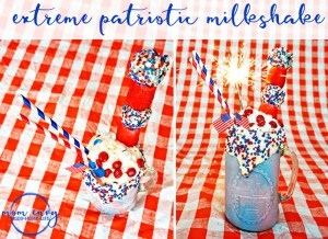 Memorial Day Milkshake. Extreme Patriotic Milkshake. Fourth of July Milkshake. Labor Day Milkshake. Red, white, and blue milkshake. Memorial Day dessert recipe. Fourth of July dessert recipe. Labor day dessert recipe. Red, White, and Blue recipe. Mom Envy.
