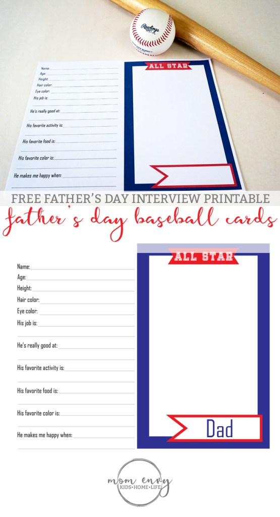Father's Day Interview Printable from Mom Envy. This is the perfect Father's Day handmade gift for baseball loving Dads, Grandpas, Uncles, and more. Free customizable PDF that's ready to print. Check it out.