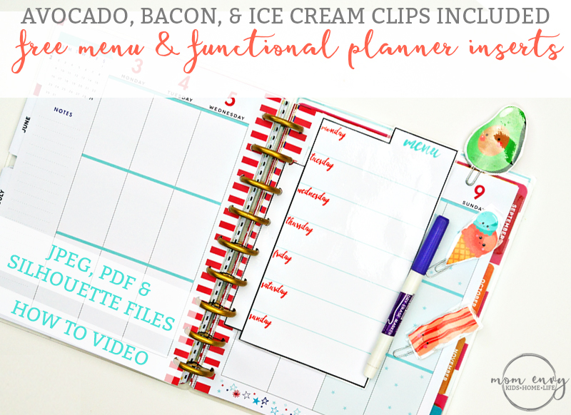 Menu and Functional Planner Inserts & Food Planner Clips