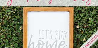 """DIY Wooden Farmhouse Sign from Mom Envy. Make an inexpensive farmhouse sign for less than $10. Free SVG File of """"Let's Stay Home."""""""