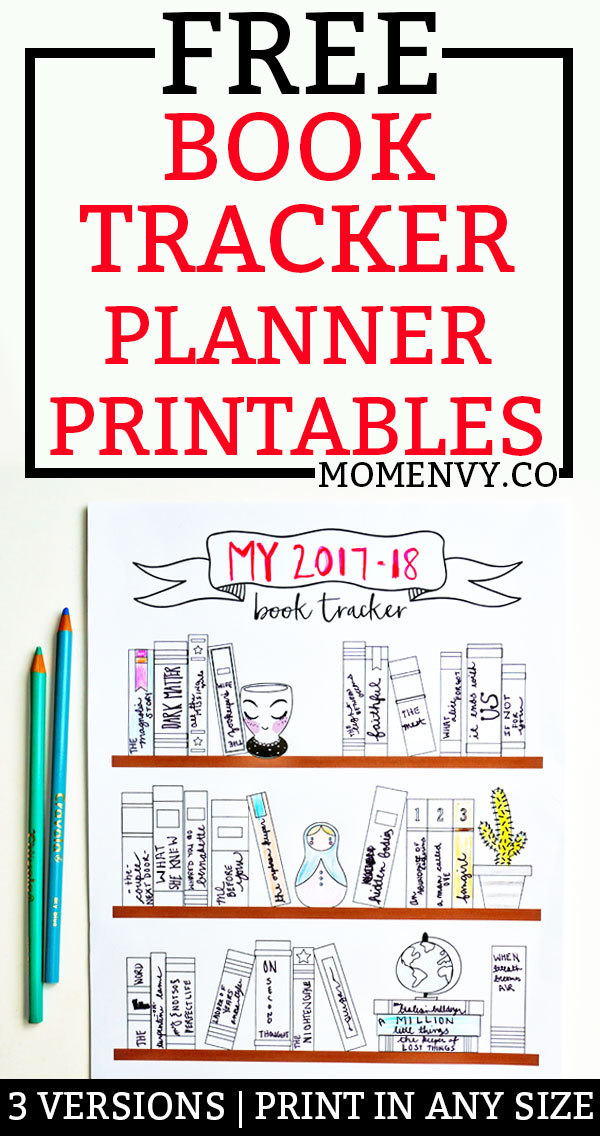 Free Book Tracker Planner Printable. Download three different planner printables perfect for a planner. Create a book bucket list for you or for your child. Download this free bullet journal style planner printable. #bulletjournal #bujo #freeplannerprintables #planning #happyplanner