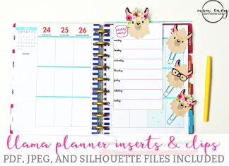 Free Llama Planner Inserts & Planner Clips - Free Planner Accessories. Free Happy Planner printables. Free llama planner printables. Free silhouette files. Free Erin Condren printables. Recollecitons planner printables. Free planner printables. Free planner clips.