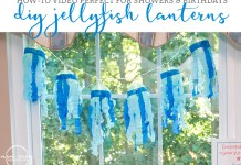 DIY Jellyfish lanterns. Baby shower jellyfish decor. Beach baby shower. Beach party decor. How-To make Jellyfish lanterns. From http://momenvy.co