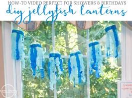 DIY Jellyfish lanterns. Baby shower jellyfish decor. Beach baby shower. Beach party decor. How-To make Jellyfish lanterns. From https://momenvy.co