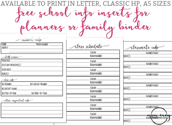 school planner inserts free planner and family binder inserts for school free family binder