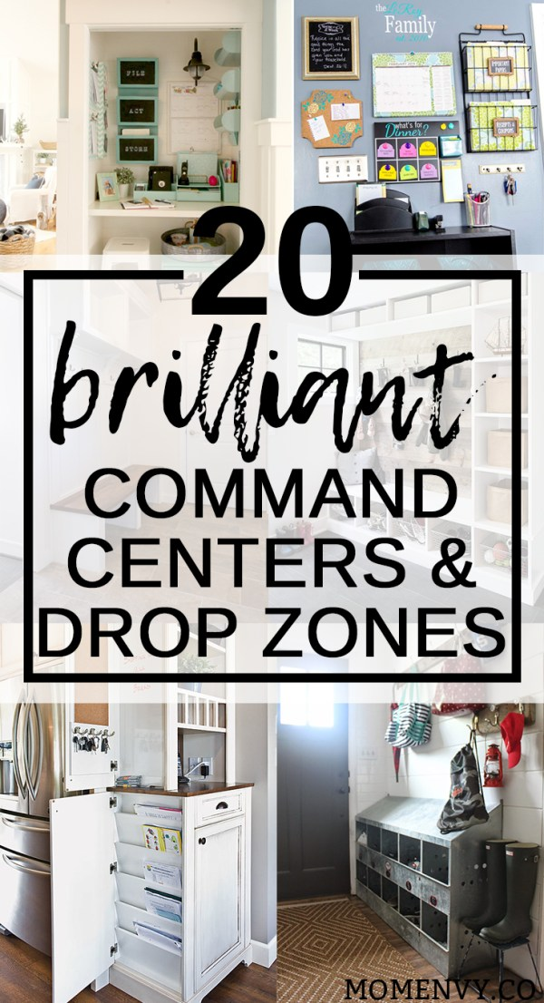20 Brilliant Command Centers and Family Drop Zones. Get yourself organized this school year and make mornings easier with these creative family spaces. Get organized for back to school. Round-Up from Mom Envy.