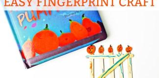 Easy Fall Fingerprint Crat for Kids - Five Little Pumpkins. Fun fall fingerprint craft for kids. Easy fingerprint craft. Fun Halloween craft. Easy Thanksgiving craft. Pumpkin craft for kids.