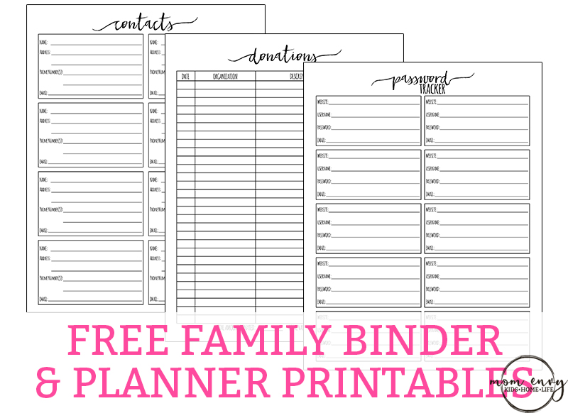 free family binder printables password contact donation trackers