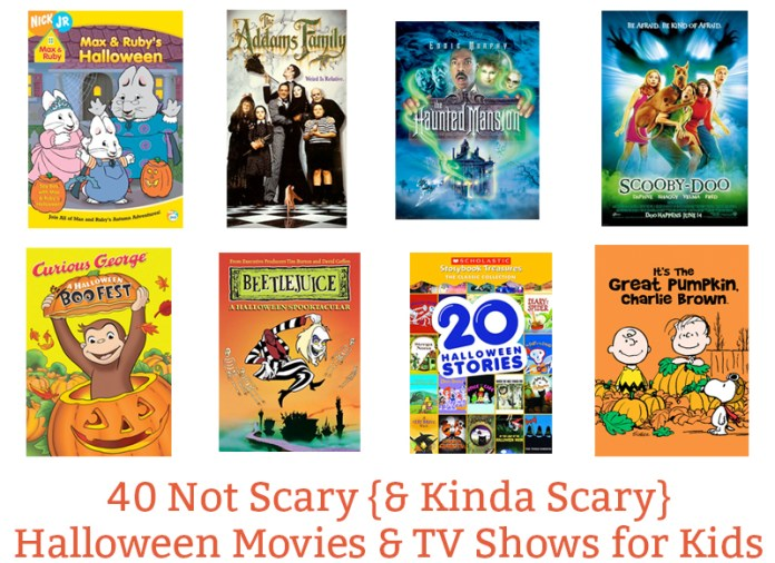 40 Not so Scary Halloween Movies and Kinda Scary Movies for kids. The ultimate Halloween movie and tv show list for kids. Great Halloween tv shows for kids. Halloween movies for kids that they'll love.