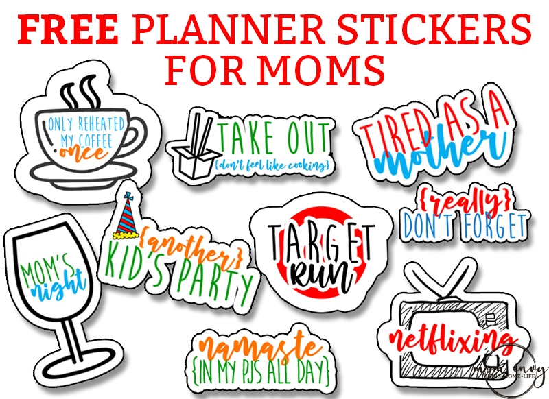 Mom Planner Stickers. Free planner stickers for Moms Free Adulting Stickers.  Free Mom stickers