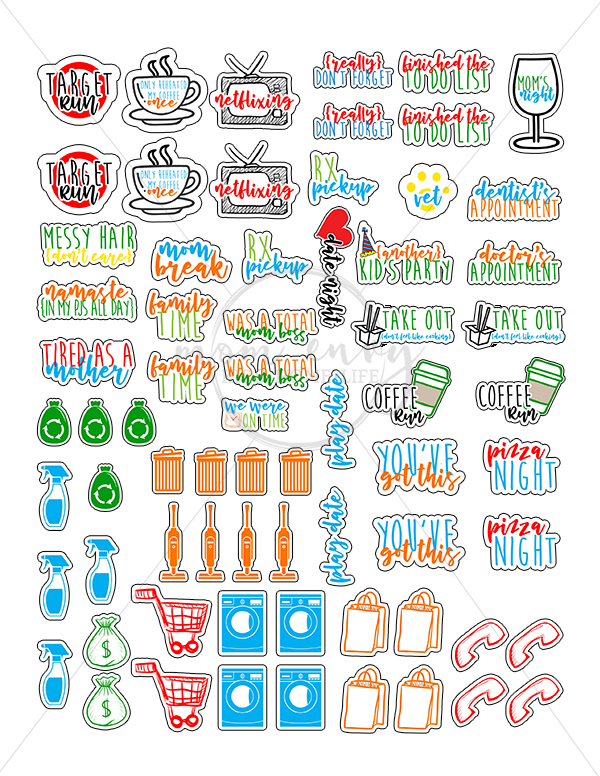 Download Free Mom Planner Stickers - 33 Different Designs - Free ...