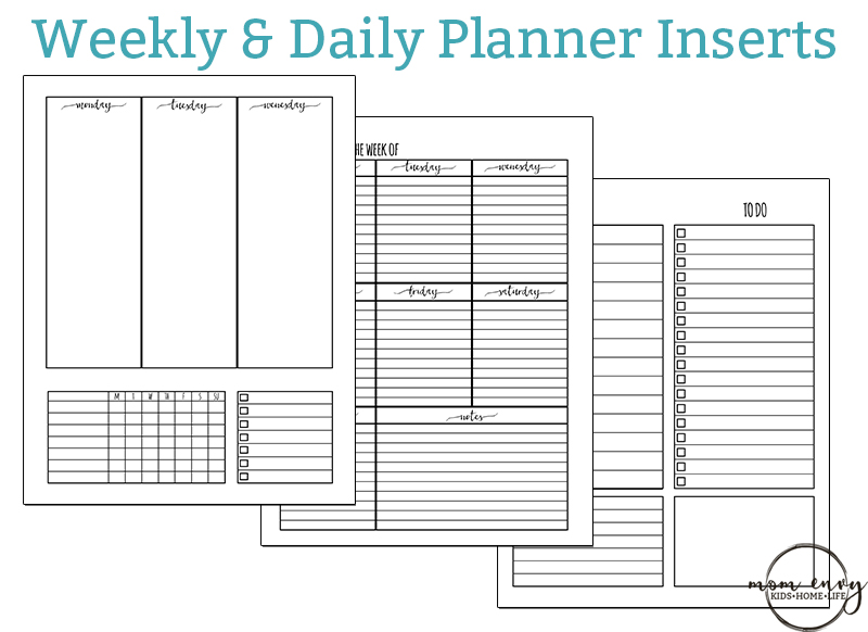 free weekly planner inserts daily inserts available in 3 sizes