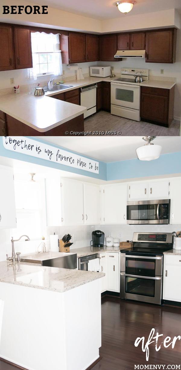 Modern Farmhouse Kitchen Remodel. White Kitchen Remodel. Easy Kitchen  Remodel. DIY Kitchen Remodel